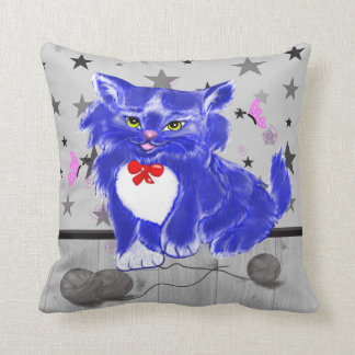 Playful kitten illustration throw pillow