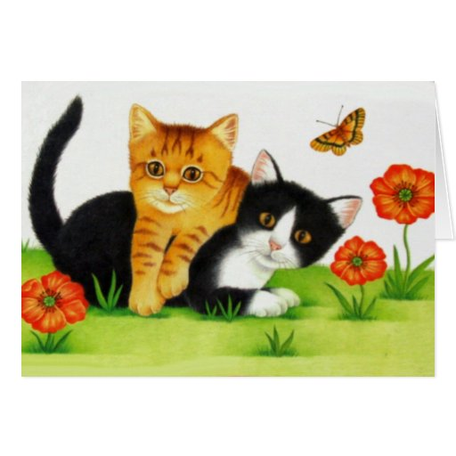 Playful Kitten on Spring Day Card