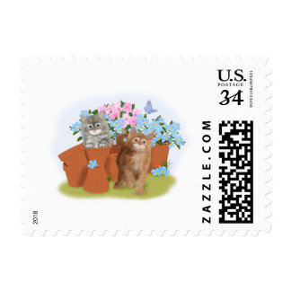 Playful kittens in the garden postage