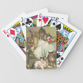 Playful Kittens with Yarn Cat Playing Cards