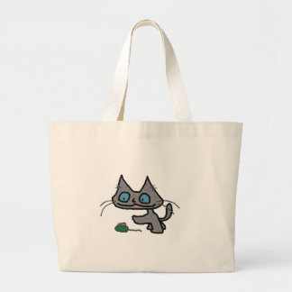 Playful Kitty And His Mouse Toy Canvas Bags