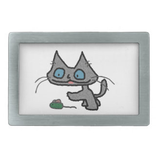 Playful Kitty And His Mouse Toy Belt Buckle