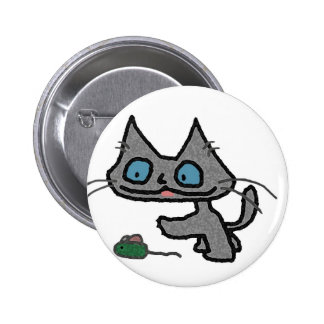Playful Kitty And His Mouse Toy Pins