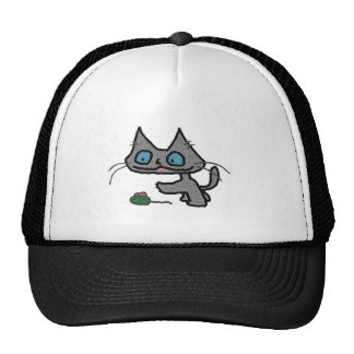 Playful Kitty And His Mouse Toy Trucker Hats
