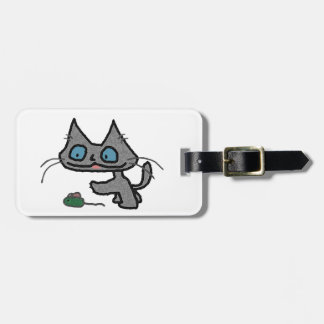 Playful Kitty And His Mouse Toy Tags For Luggage