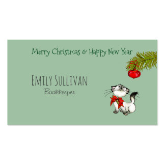 Playful Kitty Cat In A Red Christmas Bow Business Card