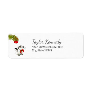 Playful Kitty Cat In A Red Christmas Bow Label