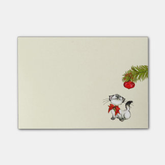 Playful Kitty Cat In A Red Christmas Bow Post-it Notes