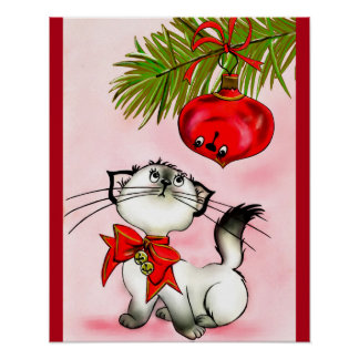 Playful Kitty Cat In A Red Christmas Bow Poster
