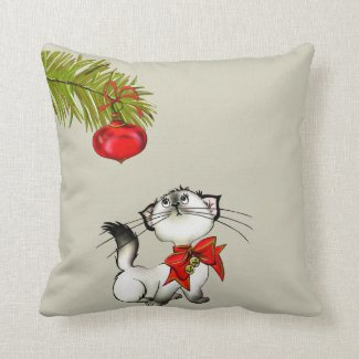 Playful Kitty Cat In A Red Christmas Bow Throw Pillow