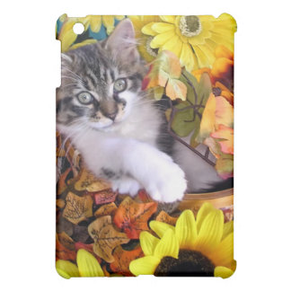 Playful Kitty Cat with Paws Crossed, Fall Flowers iPad Mini Cases