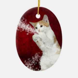 Playful kitty Christmas Ceramic Ornament