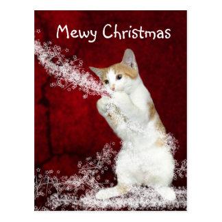 Playful kitty Christmas Postcard