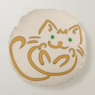 Playful Kitty Round Pillow