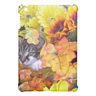 Playful Maine Coon Kitten Cat in Colorful Flowers iPad Mini Covers