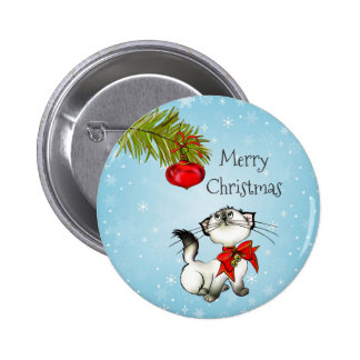 Playful Merry Christmas Kitty With A Red Bow Button