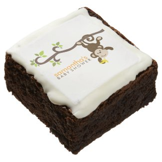 Playful Monkey Baby Shower Square Brownie