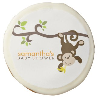 Playful Monkey Baby Shower Sugar Cookie