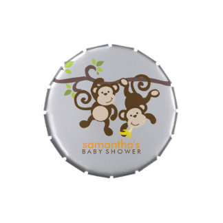 Playful Monkeys Twins Baby Shower Candy Tin
