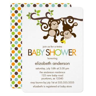 Playful Monkeys Twins Baby Shower Card
