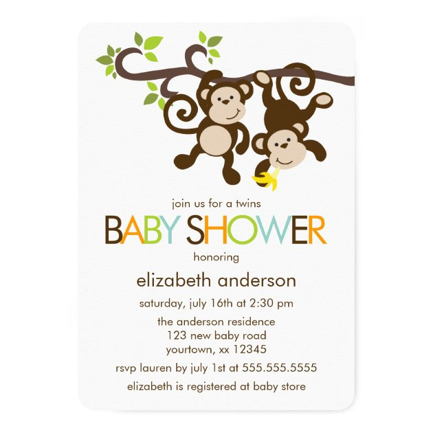 Playful Monkeys Twins Baby Shower Card | Zazzle.com
