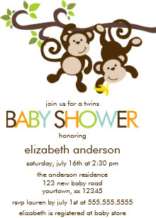 Monkey baby shower invitations zazzle playful monkeys twins baby shower invitation filmwisefo