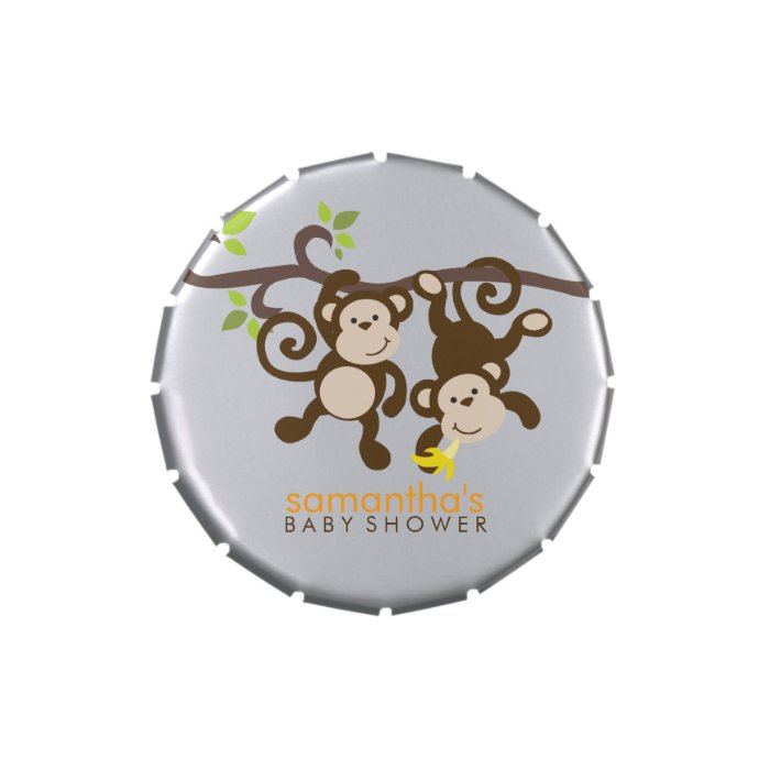 Playful Monkeys Twins Baby Shower Jelly Belly Candy Tins