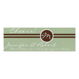 Playful Monogram in Sage Green and Brown Drink Tic Business Card Templates