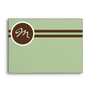 Playful Monogram in Sage Green and Brown Envelope