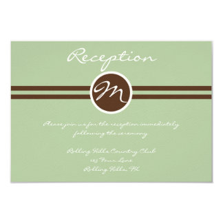 Playful Monogram in Sage Green and Brown Reception 3.5x5 Paper Invitation Card