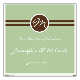 Playful Monogram in Sage Green and Brown Wall Deca Room Decals