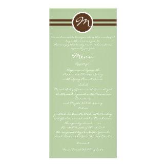 Playful Monogram in Sage Green Brown Wedding Menu