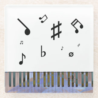 Playful Musical Notes Colorful Piano Keyboard Glass Coaster