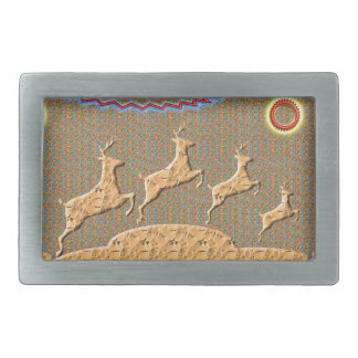 Playful n Racing Deers Rectangular Belt Buckle