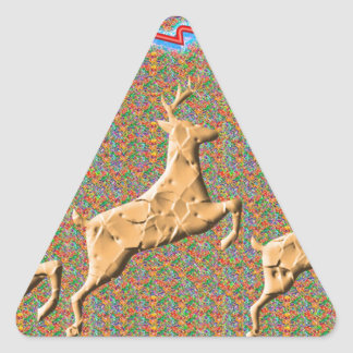 Playful n Racing Deers Triangle Sticker