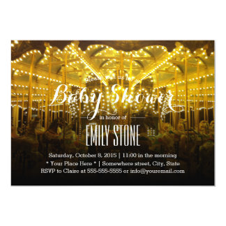 Playful Night Time Merry Go Round Baby Shower 5x7 Paper Invitation Card