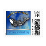 Playful orca New Years postage stamp