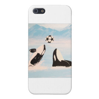 PLAYFUL ORCA WHALE WHALES PLAYING SOCCER CASES FOR iPhone 5