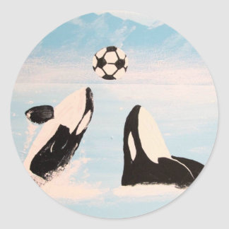 PLAYFUL ORCA WHALE WHALES PLAYING SOCCER CLASSIC ROUND STICKER