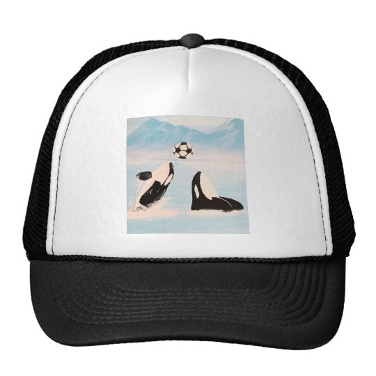PLAYFUL ORCA WHALE WHALES PLAYING SOCCER TRUCKER HAT