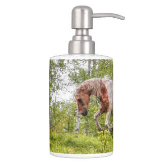 Playful Palomino Paint Stallion Horse-lover Design Bathroom Set