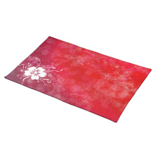 Playful Pansy - reverse rock-me-red Cloth Placemat