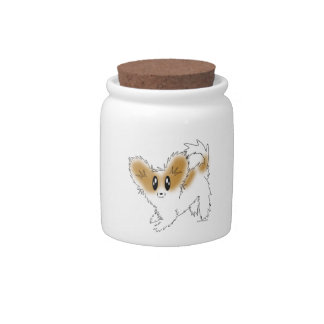 Playful Papillon Puppy Dog Treat Cookie Jar Candy Dish