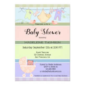 Playful Pastel Striped Baby Shower Invitation