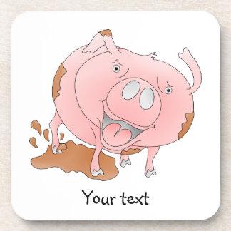 Playful pig in mud drink coaster