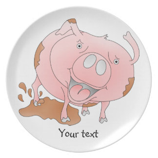 Playful pig plate
