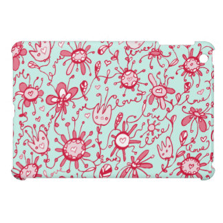 Playful Pink and Blue Love Flowers iPad Mini Case