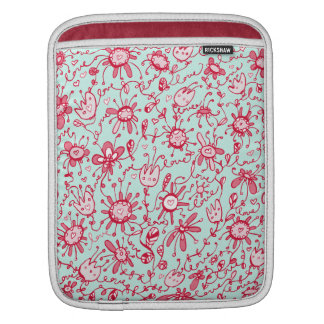 Playful Pink and Blue Love Flowers iPad Sleeve