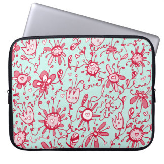 Playful Pink and Blue Love Flowers Laptop Sleeve