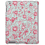 Playful Pink & Blue Love Flowers iPad Case